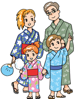 It is an illustration of a family in the summer.