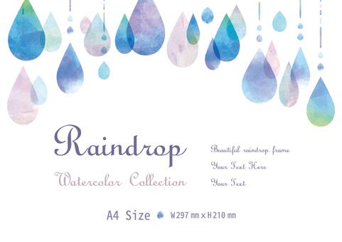 Upper rainwater water drop frame watercolor