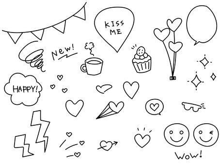 Hand drawn heart icon line drawing set