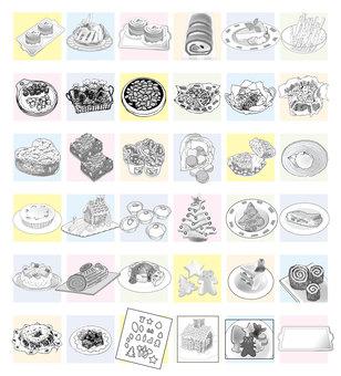 Cake various monochrome POP 36 kinds