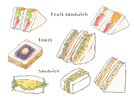 Sandwich with toast and fruit sandwich