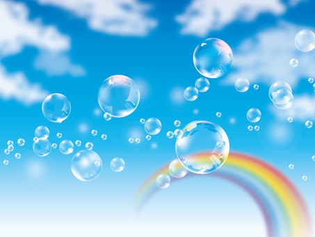 (CMYK) Soap bubbles floating in the blue sky and a rainbow