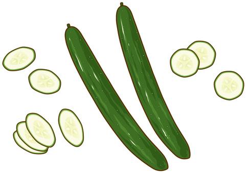 Cucumber and cucumber round cut