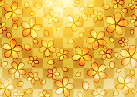 Checkered and cherry blossoms golden background