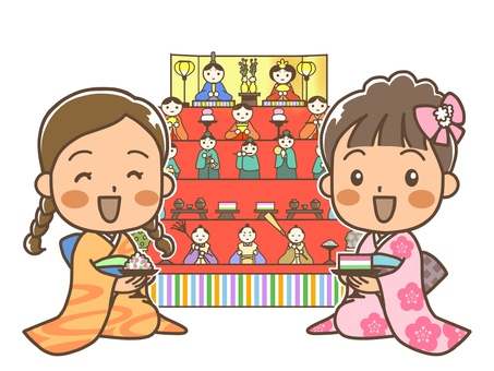 히나 마츠리 축하 두 여자