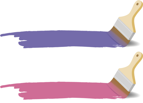 Paint and paint brush (purple and pink)