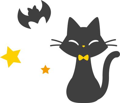萬聖節黑貓和蝙蝠