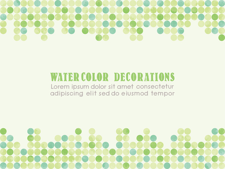 Watercolor touch dot pattern frame green