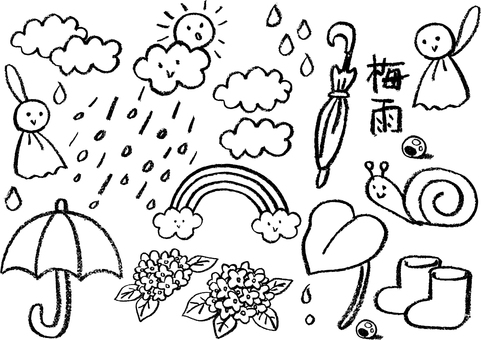 Crayon illustration of rainy season (monochrome line drawing)