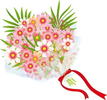 Cosmos & palm leaf bouquet 1