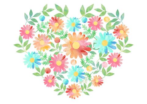 花と葉_水彩_ハート形2007