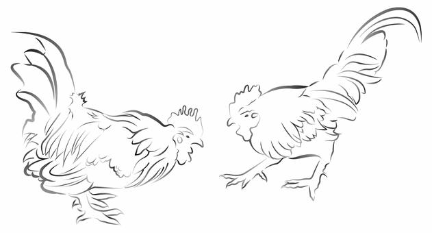 雞(水墨風格)01
