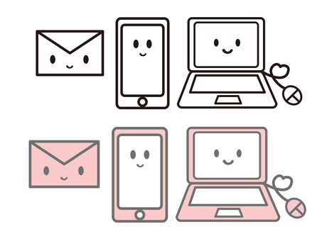Cute communication icon set