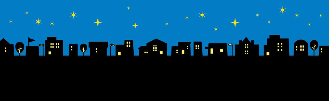 Street skyline silhouette night