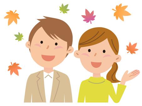 5905. Couple, autumn leaves 1