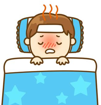 風邪で寝込む男の子