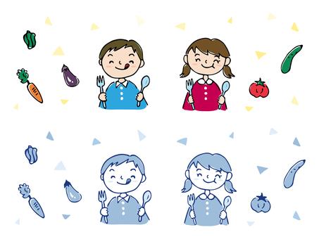식사를하는 어린이 02 / 그린