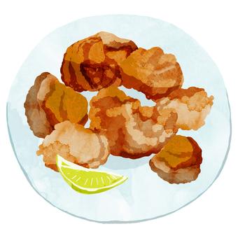 Deep-fried (dish) ③ Watercolor