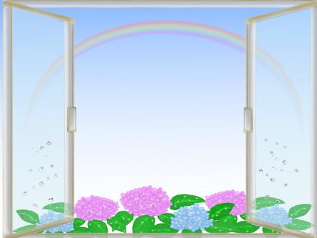 Windowside frame of rainy season Rainbow · drop and hydrangea