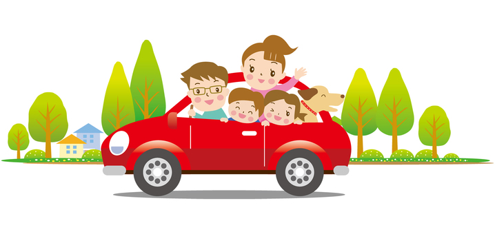 Drive red car with family