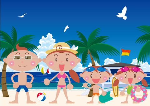 雲彩和熱帶盛夏海和家庭