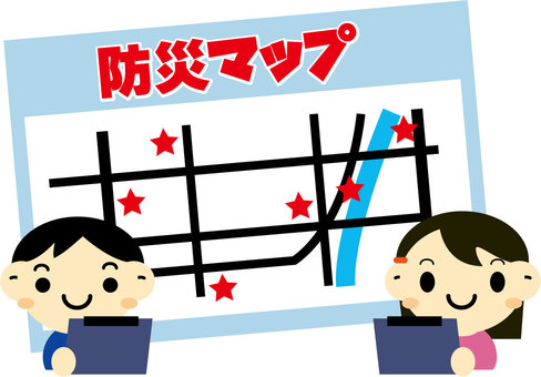 Child confirming disaster prevention map