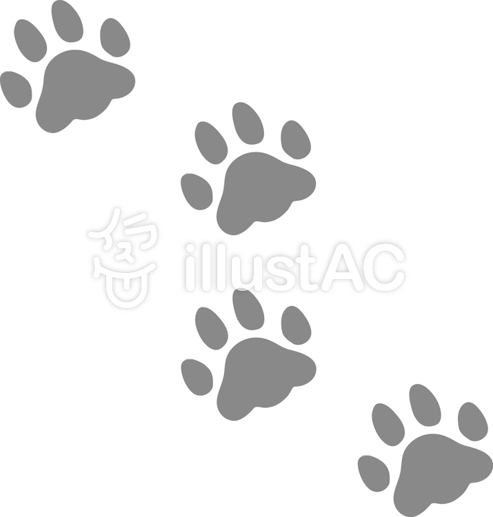 犬の足跡 モノトーンイラスト No 無料イラストなら イラストac