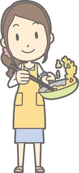 Housewife f - fried - whole body