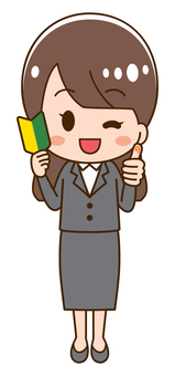 Woman in suit with beginner mark