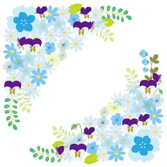 꽃 프레임 블루