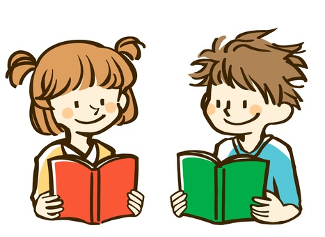 2 children reading a book