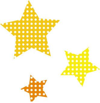 Three polka stars (yellow)
