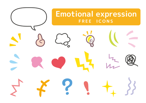 Discovering attention emotional expression icon set