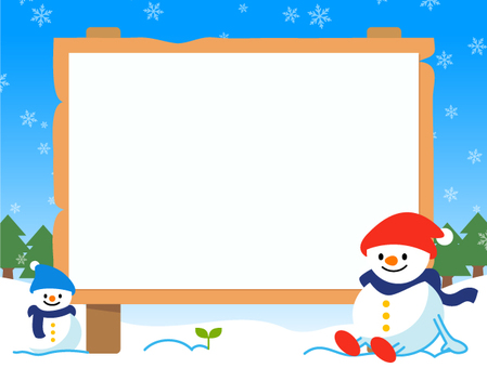 Snowman and bulletin board (no line