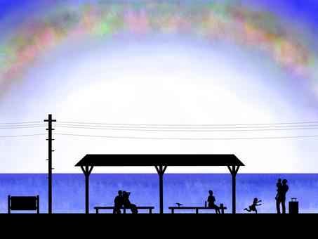 Summer silhouette travel illustration