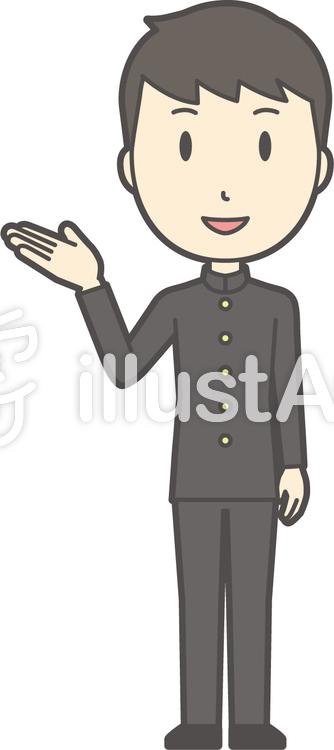 中学生学ラン男性-513-全身のイラスト