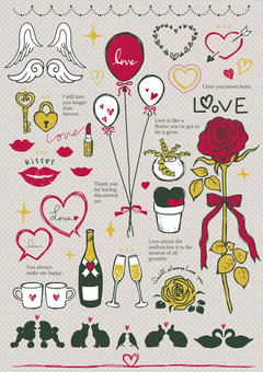 Hand-drawn illustrations (love) 03