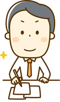 A salaryman who works hard at work