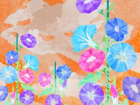 朝顔 夕暮れ 壁紙 ⑭ 水彩