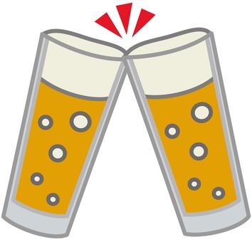 Beer glass toast