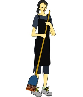 A woman who sweeps
