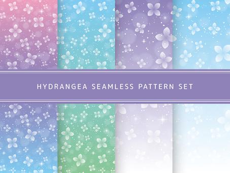 紫陽花のシームレスパターンセット