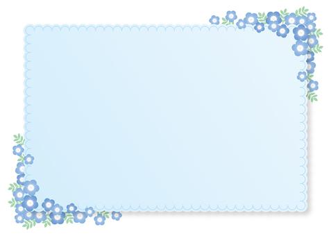 Nemophila frame, background, A4 horizontal, with paint
