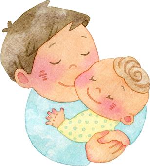 父親抱著嬰兒