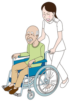 Nurse and old man in wheelchair