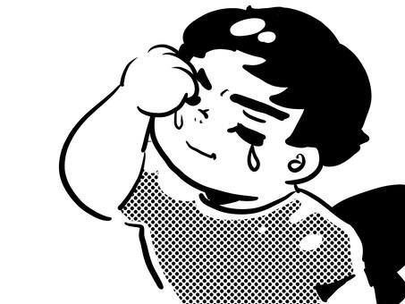 Man crying boy cartoon cute