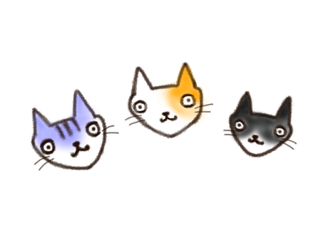 Trio cat face only