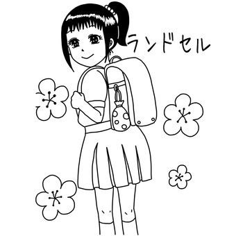 School bag and girl coloring page