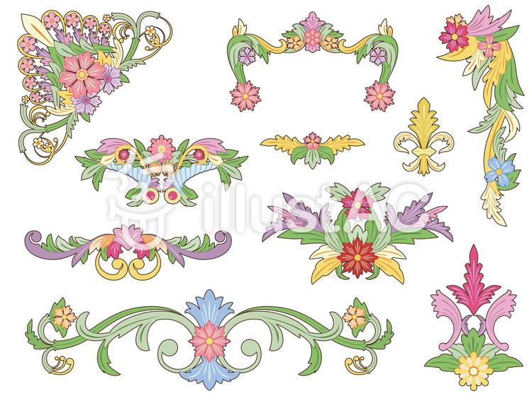 花のフレームセット(カラー)のイラスト