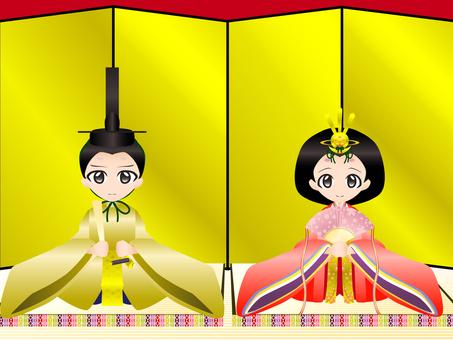 Hinamatsuri (inside and back and dolls)